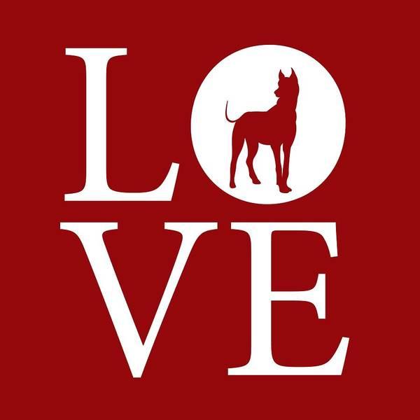 Digital Art - Great Dane Love Red by Nancy Ingersoll