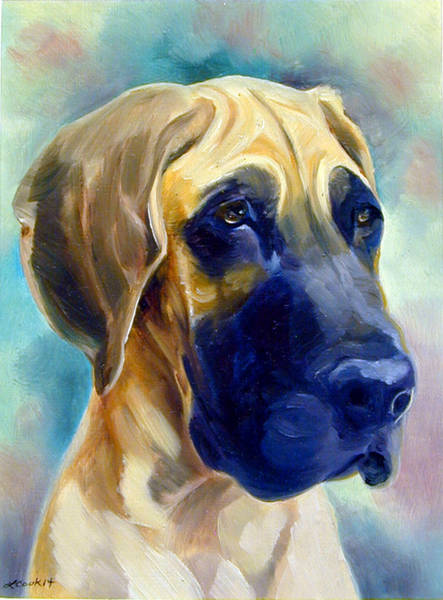 Wall Art - Painting - Great Dane Pup by Lyn Cook