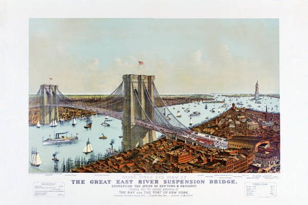 Wall Art - Drawing - Great East River Suspension Bridge 1892 by Vintage Treasure