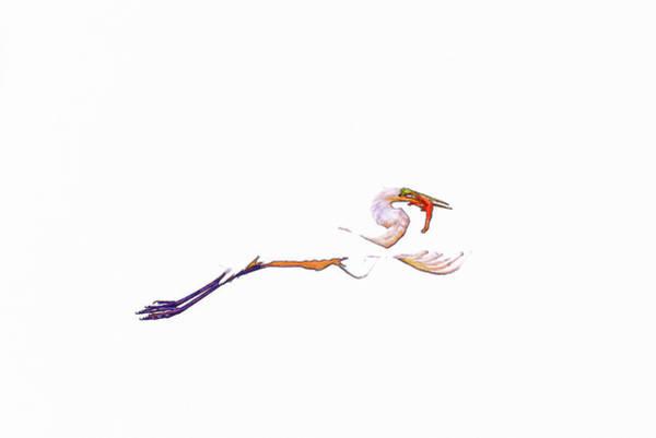 Wildlife Refuge Digital Art - Great Egret Minimalism II Abstract by Linda Brody