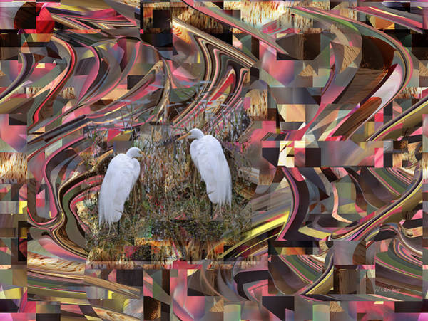 Digital Art - Great Egret On Abstract by rd Erickson