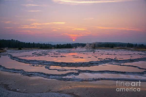 Geysers Photograph - Great Fountain Geyser Sunset Reflections by Michael Ver Sprill