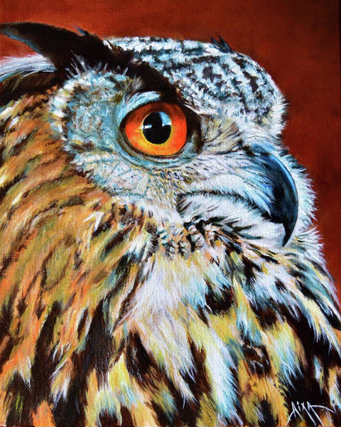Wall Art - Painting - Great Horned Owl by Aixa Renta-DeLuca