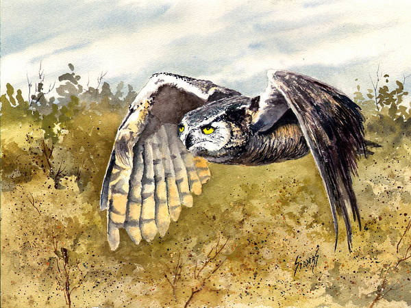 Painting - Great Horned Owl In Flight by Sam Sidders