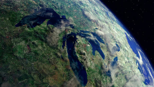 Wall Art - Photograph - Great Lakes Region From Space by Daniel Hagerman