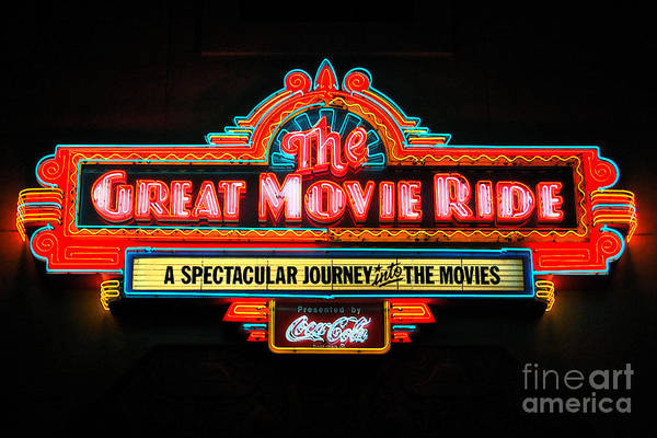 Disney World Digital Art - Great Movie Ride Neon Sign Hollywood Studios Walt Disney World Prints Ink Outlines by Shawn O'Brien