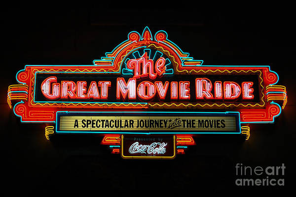 Wall Art - Photograph - Great Movie Ride Neon Sign Hollywood Studios Walt Disney World Prints by Shawn O'Brien