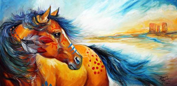 Wall Art - Painting - Great Plains Warrior An Indian War Pony by Marcia Baldwin