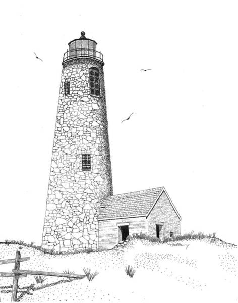 Beach Grass Drawing - Great Point Lighthouse by Tim Murray