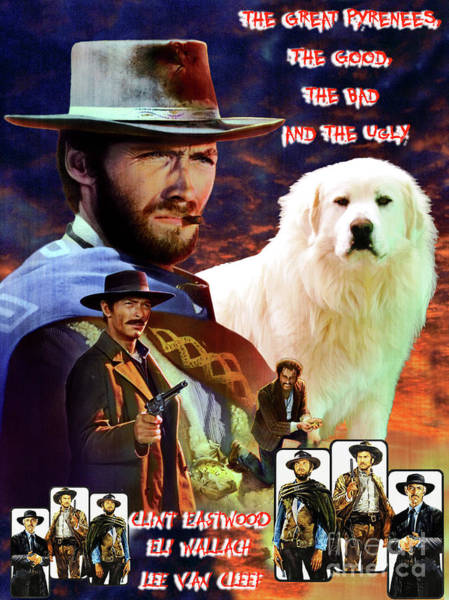 Pyrenees Painting - Great Pyrenees - Pyrenean Mountain Dog Art Canvas Print - The Good, The Bad And The Ugly Movie  by Sandra Sij