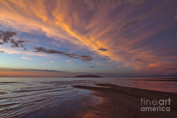 Photograph - Great Salt Lake Sunset Over Antelope Island by Spencer Baugh