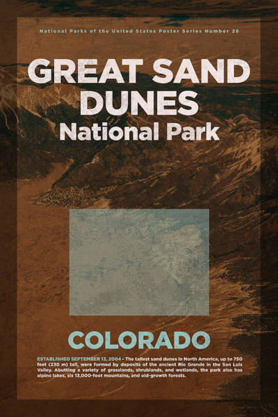 Dune Mixed Media - Great Sand Dunes National Park In Colorado Travel Poster Series Of National Parks Number 26 by Design Turnpike