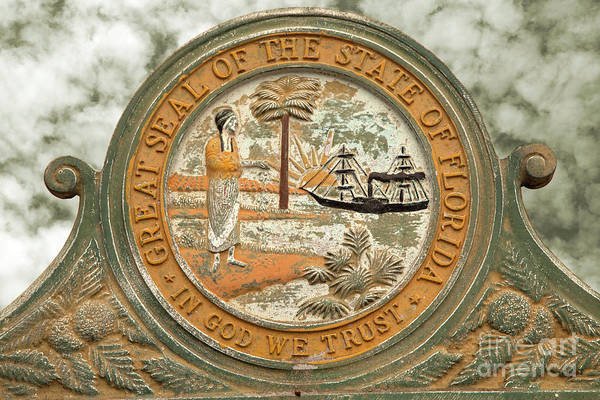 In God We Trust Photograph - Great Seal Of The State Of Florida by John Stephens