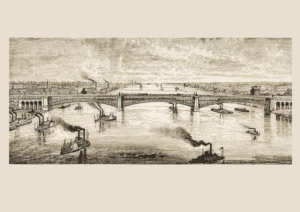Wall Art - Drawing - Great Steel Bridge Crossing Mississippi by Vintage Design Pics