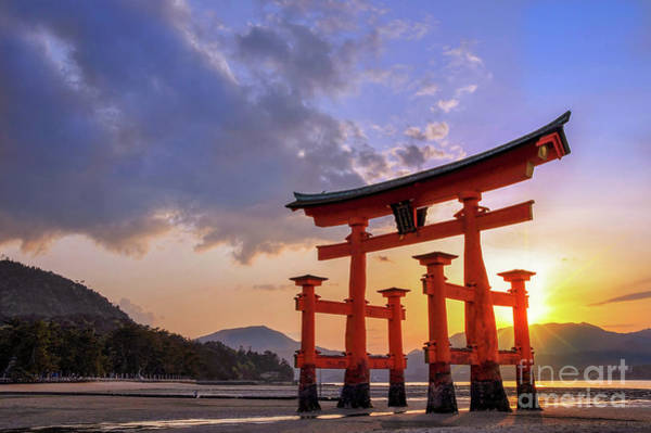 Wall Art - Photograph - Great Torii Of Miyajima At Sunset by Delphimages Photo Creations