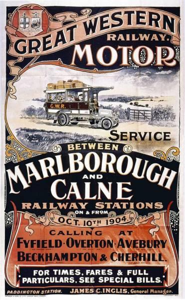 Motor Mixed Media - Great Western Railway Motor - Marborough And Calne - Retro Travel Poster - Vintage Poster by Studio Grafiikka