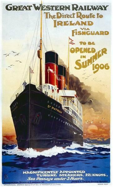 Ireland Mixed Media - Great Western Railway - The Direct Route To Ireland - Retro Travel Poster - Vintage Poster by Studio Grafiikka