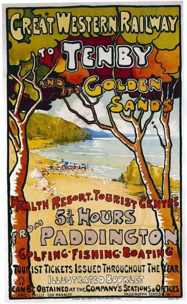 Golden Mixed Media - Great Western Railway To Tenby - Golden Sands - Retro Travel Poster - Vintage Poster by Studio Grafiikka