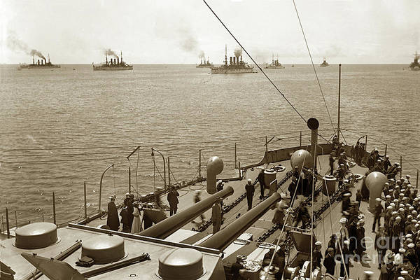 Photograph - Great White Fleet's April 1908 by California Views Archives Mr Pat Hathaway Archives
