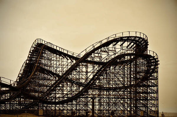 Roller Photograph - Great White Roller Coaster - Adventure Pier Wildwood Nj In Sepia by Bill Cannon