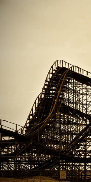 Photograph - Great White Roller Coaster - Adventure Pier Wildwood Nj In Sepia Triptych 1 by Bill Cannon