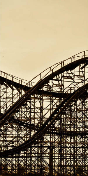 Photograph - Great White Roller Coaster - Adventure Pier Wildwood Nj In Sepia Triptych 2 by Bill Cannon