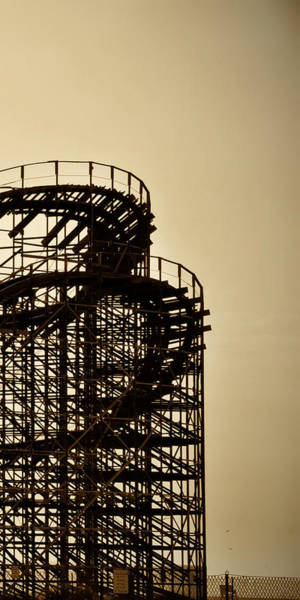 Photograph - Great White Roller Coaster - Adventure Pier Wildwood Nj In Sepia Triptych 3 by Bill Cannon