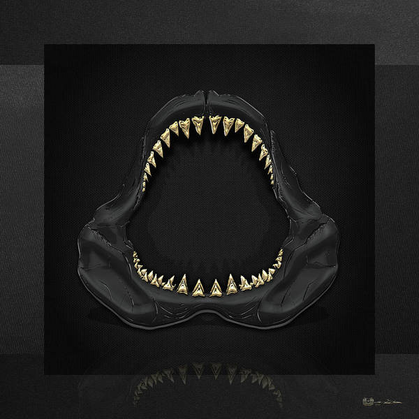 Pop Art Wall Art - Photograph - Great White Shark Jaws With Gold Teeth  by Serge Averbukh