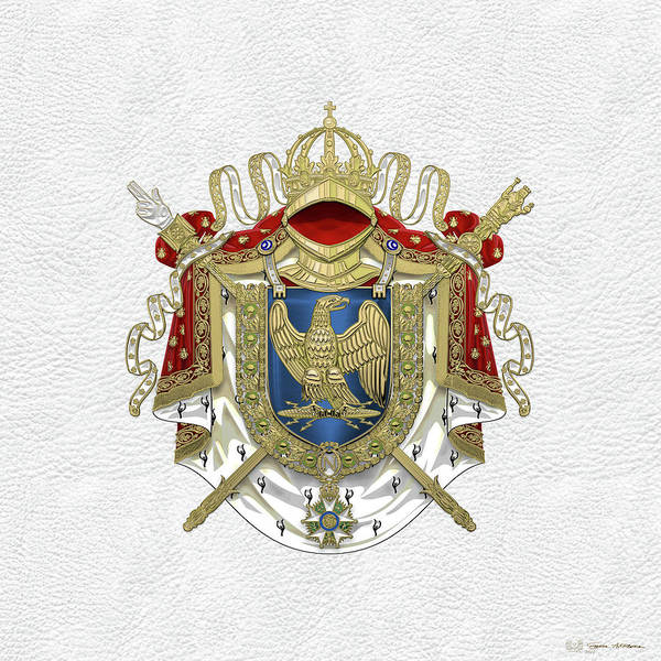 Digital Art - Greater Coat Of Arms Of The First French Empire Over White Leather  by Serge Averbukh