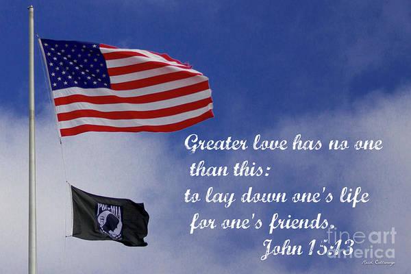 Photograph - Greater Love American Flag Pow Mia Flag Art by Reid Callaway