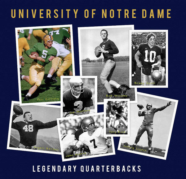 Wall Art - Painting - Greatest Notre Dame Quarterbacks by John Farr