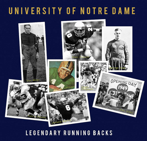 Wall Art - Painting - Greatest Notre Dame Running Backs by John Farr