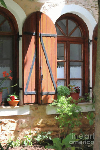 Digital Art - Greece Home Window Paint by Donna L Munro