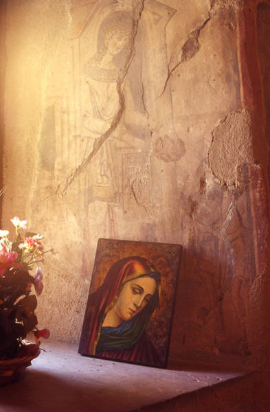 Greek Icon Painting - Greece. Lesvos. 16th Century Fresco And Virgin Mary Icon by Steve Outram