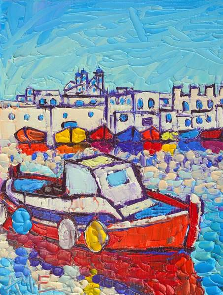 Painting - Greece Paros Island Naoussa Port Modern Impressionist Palette Knife Oil Painting Ana Maria Edulescu by Ana Maria Edulescu