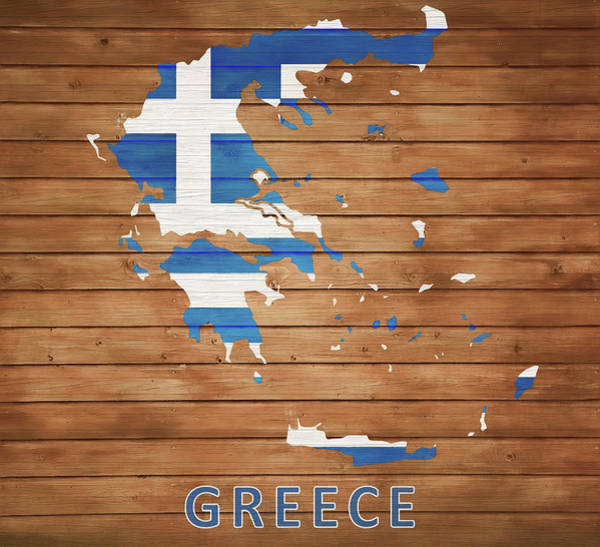 Traveler Mixed Media - Greece Rustic Map On Wood by Dan Sproul