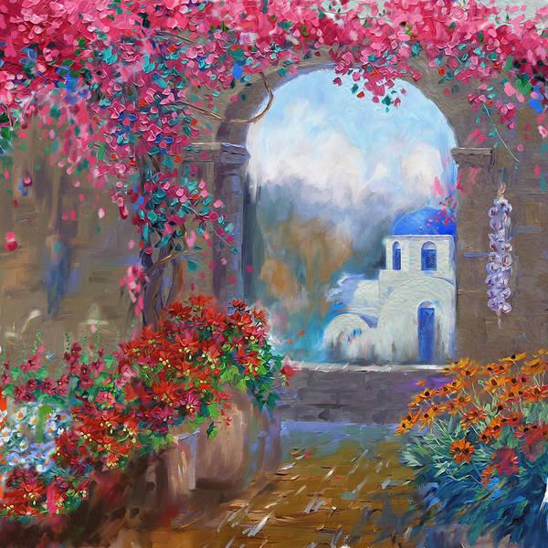 Greek House Painting - Greece Santorini 170 1  by Mawra Tahreem