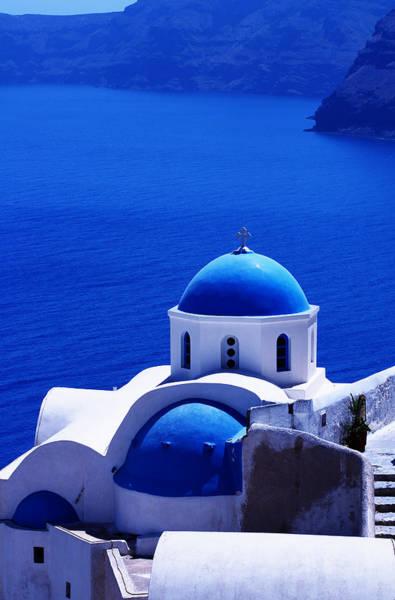 Greek Blue Vertical Art Print