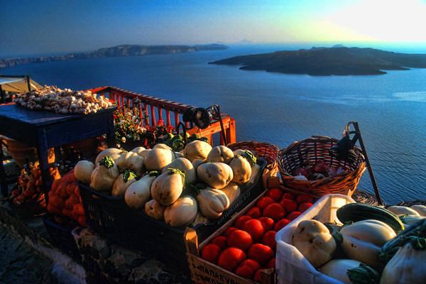 Greek Photograph - Greek Food At Santorini by David Smith