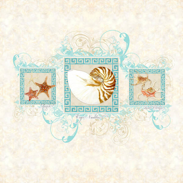 Wall Art - Painting - Greek Key Nautilus Starfish N Conch Shells by Audrey Jeanne Roberts