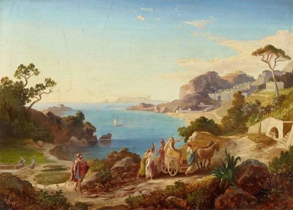 Odysseus Painting - Greek Landscape With Odysseus And Nausicaa by Heinrich Friedrich