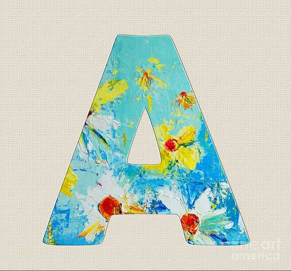 Typo Painting - Letter A Roman Alphabet - A Floral Expression, Typography Art by Patricia Awapara