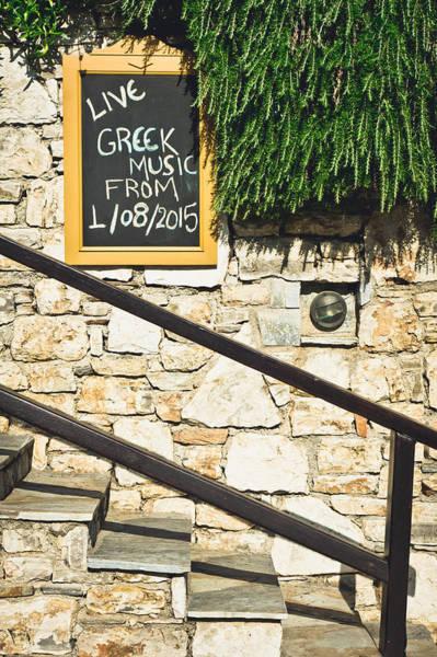Notice Board Photograph - Greek Music by Tom Gowanlock