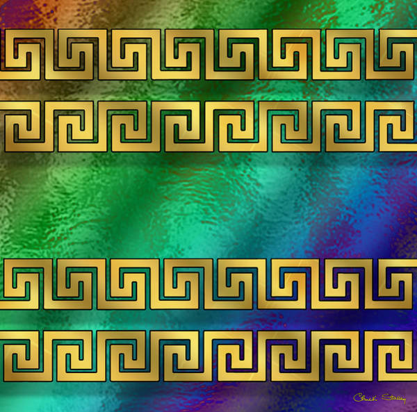 Digital Art - Greek Pattern On Glass - Horizontal by Chuck Staley