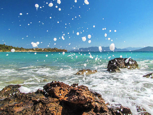 Greek Surf Spray Art Print