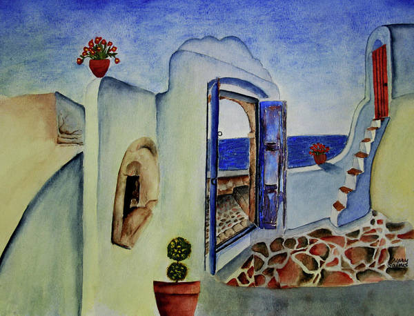 Greek Villa II Art Print by Mary Gaines