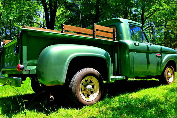 Photograph - Green 1966 Ford F100 by Lisa Wooten