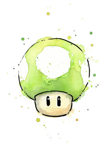 Game Painting - Green 1up Mushroom by Olga Shvartsur