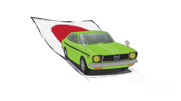 Made In Japan Wall Art - Digital Art - Green 70s Subaru Dl Leone Illustration, With The Japanese Flag Behind  by Idan Badishi
