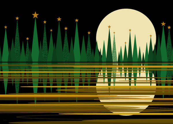 Digital Art - Green Abstract Reflected Landscape With Stars by Val Arie